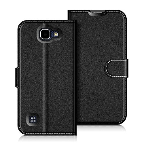 Coodio LG K4 2016 Hülle Leder Lederhülle Ledertasche Wallet Handyhülle Tasche Schutzhülle mit Magnetverschluss / Kartenfächer für LG K4 2016, Schwarz