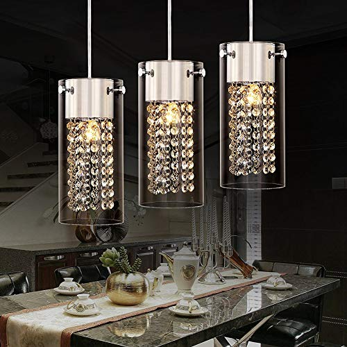 LQUIDE Moderne Kristall Pendelleuchte mit rundem Glas Lampenschirm Chrom Kronleuchter Hängelampen für Esszimmer Kücheninsel Bar Loft Flur Treppe Hängelampe (3-Licht) -