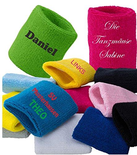 Schweißband verschiedene Farben mit Wunschstick bis zu 3 Zeilen Sport Turnen Joggen Tanzen Tennis Fußball