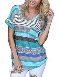 Yidarton Damen Tops Sommer Buntes Gestreiftes Loose Kurzarm V-Ausschnitt Shirt Hemd Bluse T-Shirt