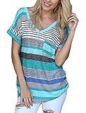 Yidarton Damen Tops Sommer Buntes Gestreiftes Loose Kurzarm V-Ausschnitt Shirt Hemd Bluse T-Shirt (XL/ EU 42-44, Blua)