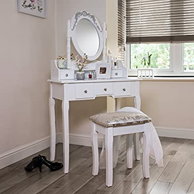 Stylish Dressing Table With Adjustable Mirror And Stool. 5 Drawer Vanity Desk. - cheap UK light shop.
