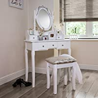 Home Treats Stylish Dressing Table With Adjustable Mirror And Stool. 5 Drawer Make Up Vanity Desk.