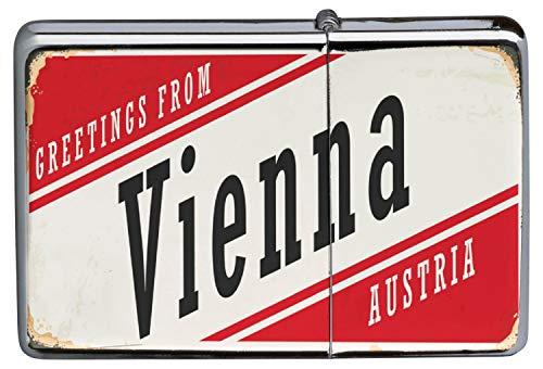 LEotiE SINCE 2004 Chrom Sturm Feuerzeug Benzinfeuerzeug aus Metall Aufladbar Winddicht für Küche Grill Zigaretten Kerzen Bedruckt Retro Metropole Wien Österreich