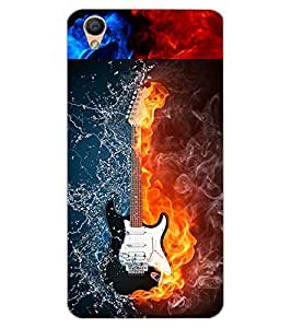 ColourCraft Water and Fire Guitar Design Back Case Cover for OPPO F1 PLUS