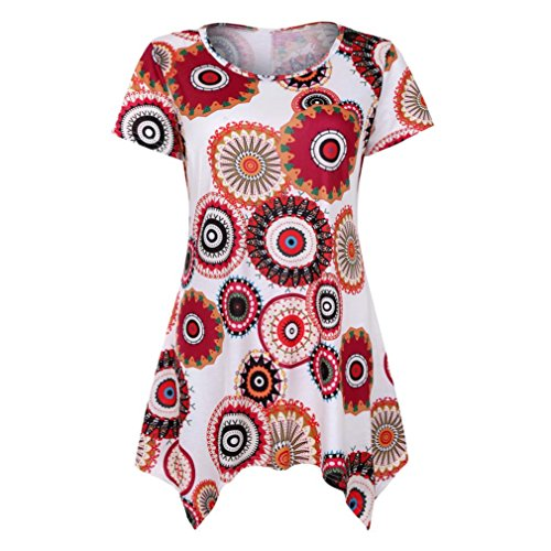 JUTOO Damen Kurzarm Swing Tunika Sommer Floral Flare Tee Top Bluse Shirt (Groß, Weiß) (Damen Jersey Hockey)