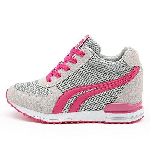 AONEGOLD® Sneakers Zeppa Interna Donna Scarpe da Ginnastica Basse Sportive Fitness Tacco Zeppa 7 CM Nero Bianco Grigio(Grigio,37 EU)