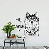 tzxdbh Carino Pet Husky Wall Sticker Animale Cucciolo Macchina Fotografica Sorriso Arte Murale Soggiorno Poster da Parete per Bambini Camera da Letto in Vinile Decalcomanie Rimovibili57 * 56 cm