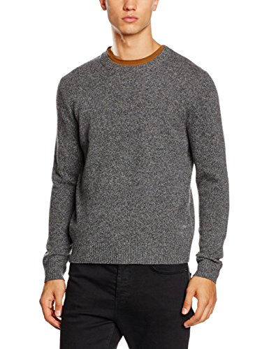 Brooks Brothers Swt Solid Wool Crew dk, Maglione Uomo, Grey, 50 IT (MED)
