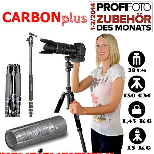 Fotostativ Patrick CARBONplus inklusiv 360° Kugelkopf, Tasche, Schnellwechselplatte. ( Packmaß: 39cm, Maxihöhe: 180cm, Kopf Tragkraft: 15kg, Gewicht: 1,5kg ) - togopod Reise,- Kamera,- und Dreibeinstativ (Cyber Monday 180 Deal)