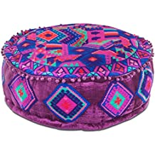 Cojín Puff Indio Morado. Textil India. 28 x 60 x 60 cm.