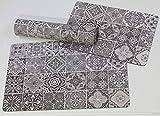 DeCarpet Alfombra Textil Suelo Baldosa Hidráulica Original Moderna Lavable Titan (50x80cm)