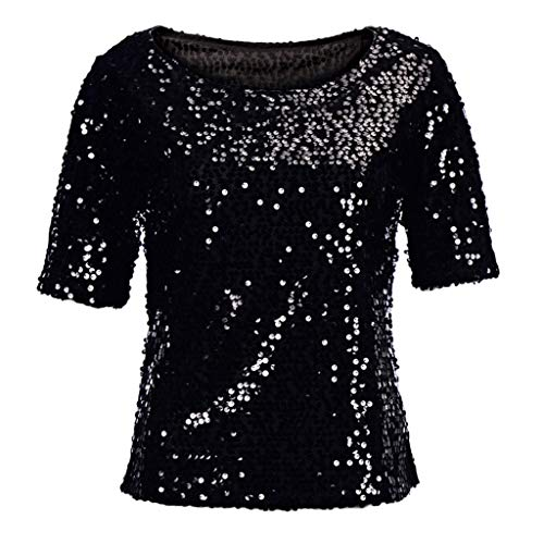 2019 JJM Mode Shirt Frauen Pailletten Sparkle CocktailShirt Party Lässige Top Bluse Crop Tops Frauen Langarm Party Oberteil Bustier Schulterfrei Bauchfrei Crop Tops Damen T-Shirts Lange ()