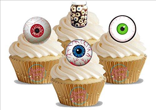 HALLOWEEN Augen Augapfel Mix 12 essbare Standup Kuchen-Deko, Kuchendekorationen, essbar, Premium, 2 x A5, für 12 Bilder