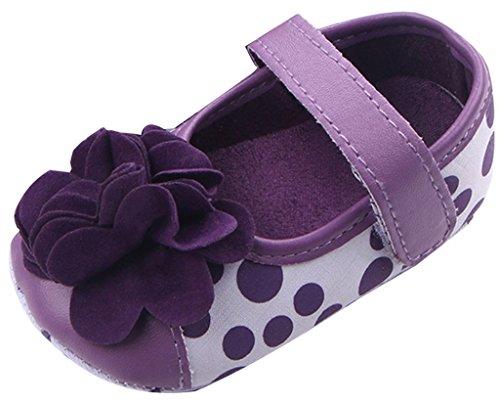 Lukis Baby Mädchen Ballerinas Gepunkt Blume Prinzessin Halbschuhe Violett