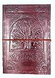 Chic & zen - Carnet, journal, livre, album livre d'or, bloc notes, cahier à dessin ou de croquis, scrapbook, grimoire, Cuir Véritable, Vintage, Arbre De Vie, 18cm * 25cm, papier premium