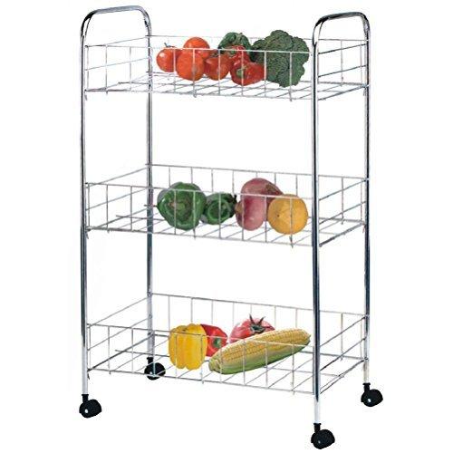 Fun Daisy 3 Tier Kitchen Vegetable Fruit Storage Trolley Cart