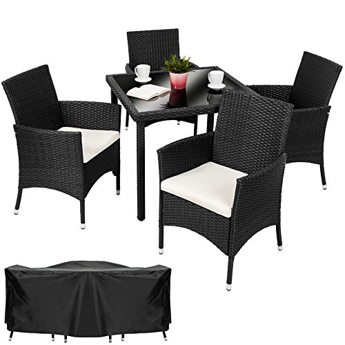Tectake 4 chairs 1 table luxury rattan garden furniture set includes protection slipcover - Garden furniture colours ...