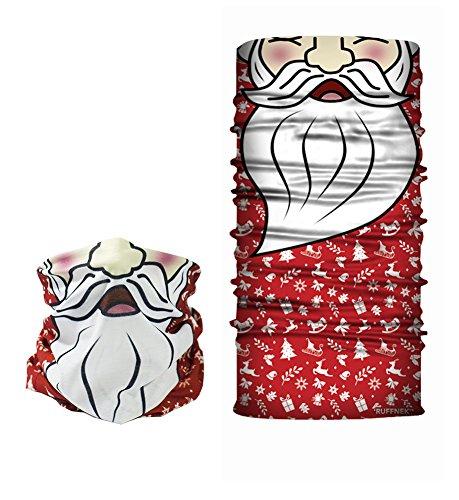 RUFFNEK Santa Claus/père Noël Design - Masque de Ski de Masque, Cache-col, Foulard Multifonctionnel Écharpe - Taille Unique pour Hommes, Femmes et Enf