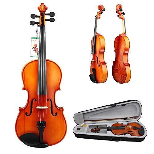 Glossy Perfekte Finish (Cvbndfe Handcrafted Basswood 4/4 Full Size Massivholz Violine Glossy Finish Schülerakustische Violine Anfängerpackung mit Bogen Hartschalenetui Kinnhalter Brücke Kolophonium Zubehör)