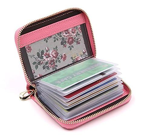 ZORESS Damen Echt Leder Kreditkartenetui Reißverschluss Scheckkarten Kartenetui Geldbörse Visitenkartenetui (Pink)