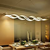 –Lámpara colgante LED, comedor lámpara de techo Salón Cocina–Lámpara LED de techo moderna lámpara colgante de aluminio, altura regulable, longitud máxima de 1200mm, Warm White [Clase energética A + + +]