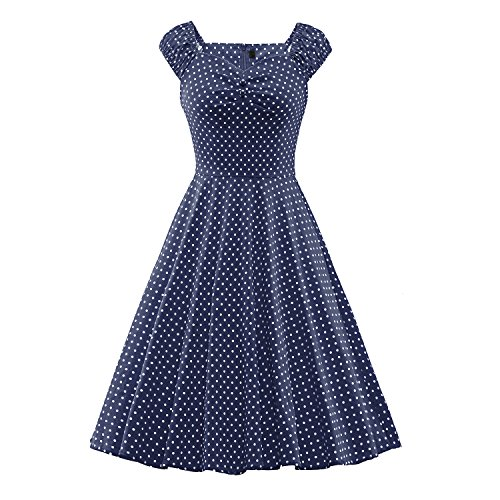 omen's Elegant Vintage Cap Sleeve Pleasted Cocktail Dress (Nice Girl Dress Up)