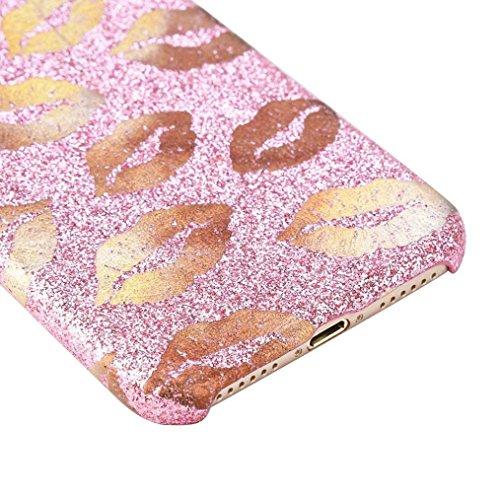 Ouneed® Für iPhone 8 4.7 Zoll Hülle , Luxury bling Glitzer Lippen TPU Silikon Schutz Handy Hülle Case Tasche Silikon Crystal Case Schutzhülle For iPhone 8 4.7 Zoll (Lila) Rosa