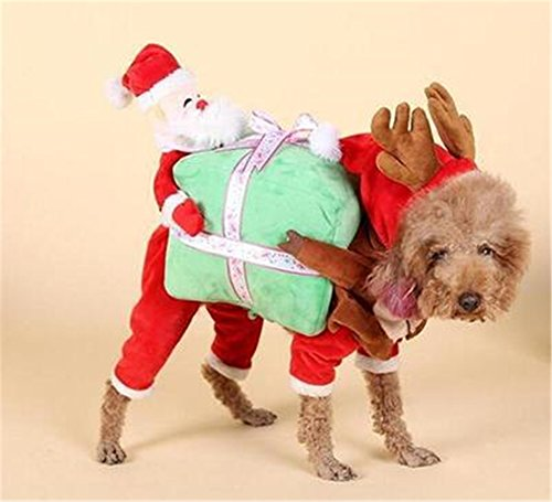 yue-déguisement Weihnachtsmann Hunde Kostüm Hund Kleidung Katze Welpen Winter Warm Weihnachten (Hund Kostüme Einhorn)