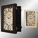 Wanduhr mit Schlüsselkästen 3 Fächerkasten Wanduhr-Kasten Tischuhr Uhr Vintage (Schwarz)