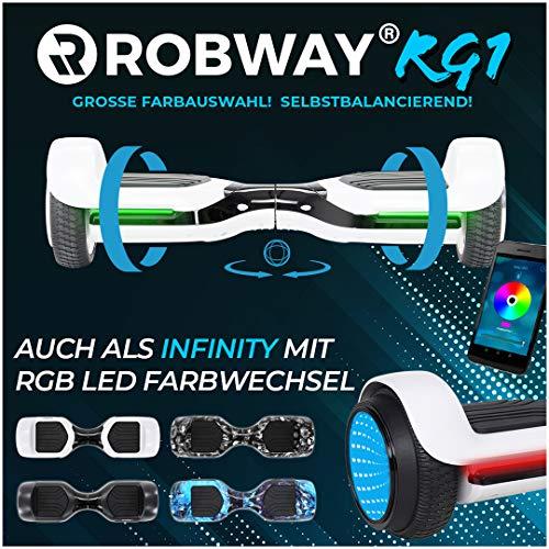 Robway Rg1 Hoverboard - Das Original - Self e Balance - 2 x 350 Watt Motoren - Led 16 Mio Farben - Bluetooth - App - Lithium Akku (Weiß/Schwarz)