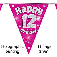 Happy 12th Birthday Pink Holographic Foil Party Bunting 3.9m Long 11 Flags