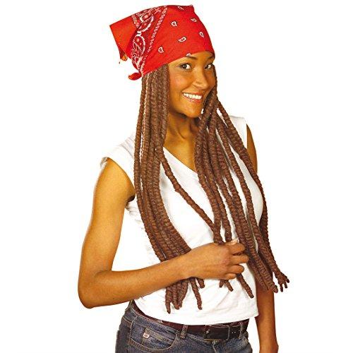 Bandana mit Rastaperücke braun Kopftuch Rasta Perücke Reggae unisex Faschingsperücke Karnevalsperücke (Rasta Bob Farbe Marley)