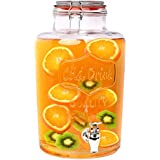 S/o® Dispensador de bebidas zapfhahnflasche Jarra de zumo con grifo (weckglasoptik aprox. 7L Cristal Vasos Vasos cocktail Drinking Jar Premium Dispenser Vintage Retro Jardín Terraza