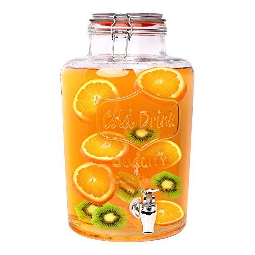 Schramm® Getränkespender Zapfhahnflasche Saftkanne mit Zapfhahn Weckglasoptik ca. 7 Liter Glas Gläser Trinkgläser Cocktail Drinking Jar Premium Dispenser Vintage Retro Garten Terasse