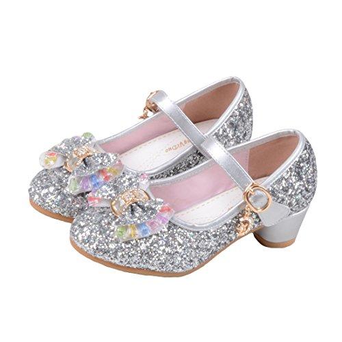 Belle Silber Kostüm - O&N Prinzessin Gelee Partei Absatz-Schuhe Sandalette Stöckelschuhe für Kinder(Size 27 EU) Silber