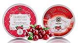 Saules Fabrika Kosmetik Geschenk-Set Körper-Peeling + Creme, (Body-Scrub + BodyYoghurt), mit reichen Ölen, 100% Vegan, Bio, Handmade, mit Meersalz (Cranberry)