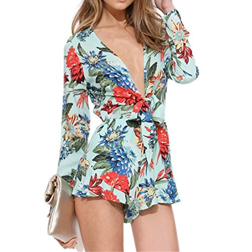 Femmes Sexy Floral Col En V Profond A Manches Longues Cintree Slim Combinaison Grenouilleres Xs-Xxl Floral