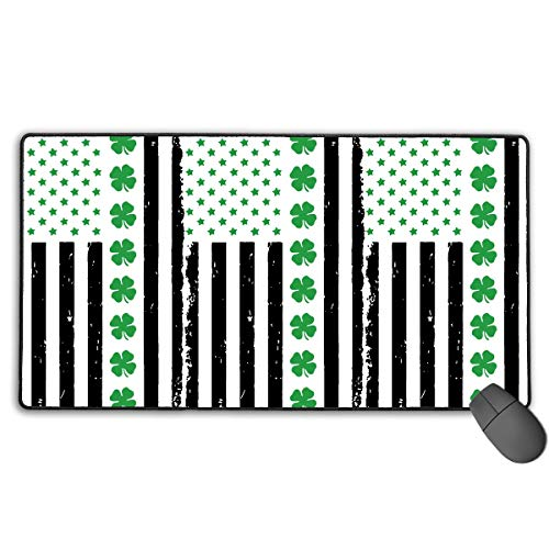 Large Gaming Mouse Pad/Mat, Big Irish American Flag Custom Mouse Pads with Non-Slip Rubber Base for Gaming Sensors, Durable Stitched Edges New13 -
