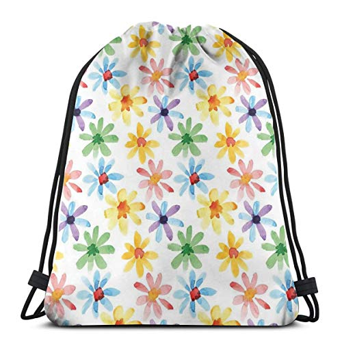 WTZYXS Drawstring Sack Backpacks Bags,Colorful Flowers Spring Season Nature Garden Theme Watercolors Hand Painted Artwork,Adjustable,5 Liter Capacity,Adjustable. -