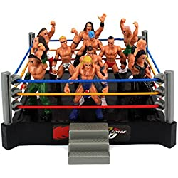 VT Mini Smack Battle Action Wrestling Toy Figure Play Set w/ Ring, 12 Toy Figures by Velocity Toys