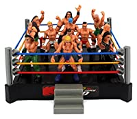 VT Mini Smack Battle Action Wrestling Toy Figure Play Set;Comes w/ Wrestling Ring, 12 Toy Figures;Three Elastic Ring Ropes, Ring Stairs;Approx. Ring Dimensions: 5 x 5;Approx. Average Figure Height: 2.5 Tall
