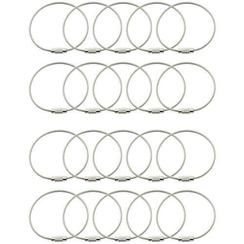 com-four® 20x Outdoor Edelstahl Schlüsselring, Spiraldraht ca. 16 cm, Kabel Anhänger mit Messingschraube und verchromter Zylindermutter z.B. als Schlüsselanhänger (20 Stück)