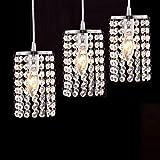 Europäisch Kristall klaren Perlen Hängelampe LED E14 × 3 4000K Deckenleuchter Einfach Bar Kreativ Schlafzimmer Restaurant Korridor Ganglichter Wohnzimmer-lampe Esszimmer-lampe 230V Chrome
