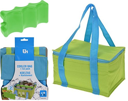 Isolato 5LT campeggio picnic Cool bag Cooler & Ice Brick Pack Block Lime Green