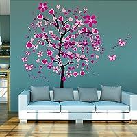 ufengke® Rosa Árbol de Amor Flores Hermosa Mariposa Pegatinas de Pared, Sala de Estar Dormitorio Removible Etiquetas de La Pared / Murales, Juego de 4 Hojas