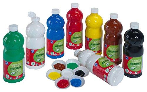 Lefranc & Bourgeois 188499 Redimix Gouachefarben, Set-8, leuchtenden Farben in der 1 Liter Flasche, gebrauchsfertige Kinderfarbe