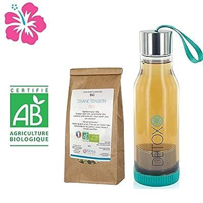 Tisane Tension Bio à base de Houblon + Bouteille infuseur detox - Fabriquée en France - Cure 15 jours - Des ingrédients 100% naturels pour favoriser une tension stable