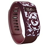 Greatfine Funda para Fitbit Charge / Fitbit Charge HR Carcasa De Gama Alta Silicona y Policarbonato (Wine Red Flower)