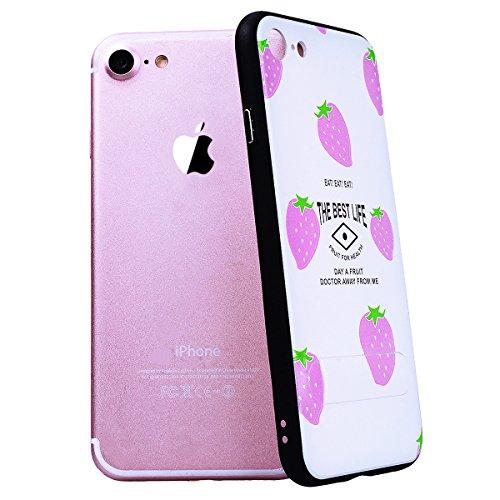 SMART LEGEND iPhone 7 Plus Hülle mit Standfunktion Schutzhülle mit Frucht Obst Muster Shiny Tasche Skin Schale Hart PC Backcover Case für iPhone 7 Plus Hartschale Handy Tasche - Kiwi Lila Erdbeere